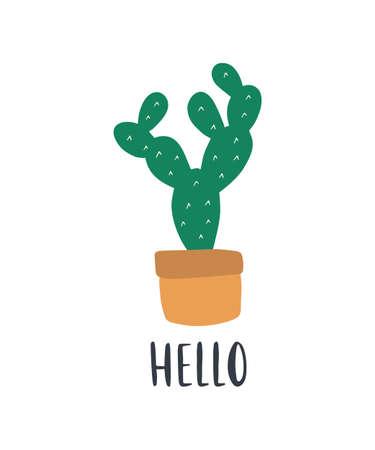 Hand-drawn tropical house plant cactus.
