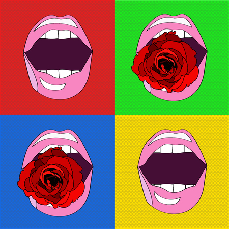romantic sex: sexy pink lips , pop-art , with a red rose in her mouth
