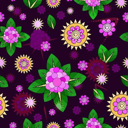 Seamless floral pattern. Vector illustration in violet tones