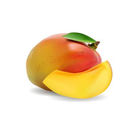 mango: Mango, świeże owoce na białym tle.