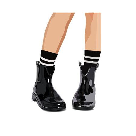 lacquered: Black  lacquered boots - vector illustration, socks with stripes