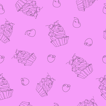 cupcakes isolated: Vector sweet cupcakes pattern, purple silhouette isolated.