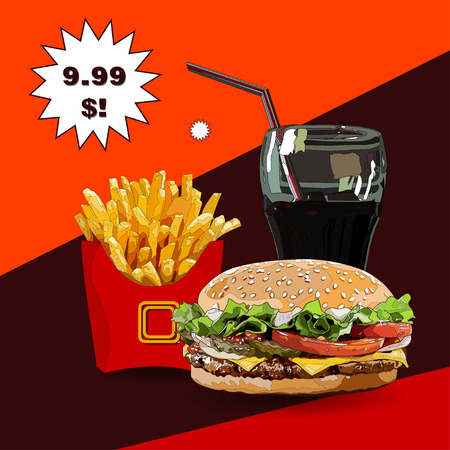leaf lettuce: Burger fries and cola vector illustration with price. no trace Illustration