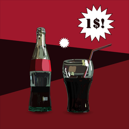 aerated: Glass and Bottle. Vector Illustration of glass and Bottle with dark red beverage. With price. no trace