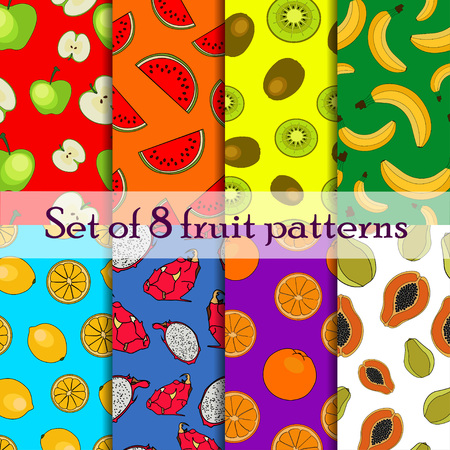 kiwi: Set of seamless fruit and berry pattern apple papaya kiwi  banana  lemon orange watermelon dragon eye
