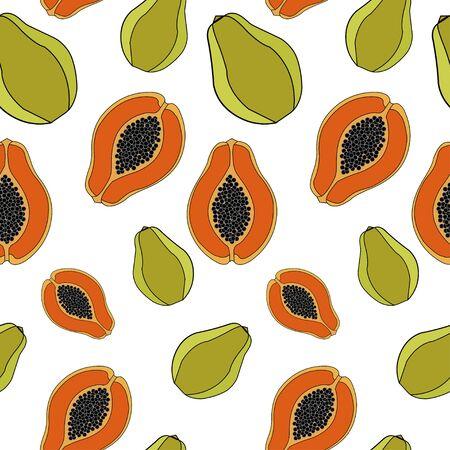 exotic fruit: Papaya  Seamless pattern exotic fruit. vector background Illustration