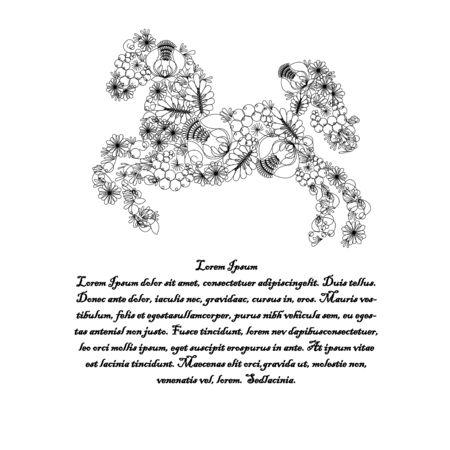 ukrainian traditional: Horse. Illustration in Ukrainian traditional folk painting Petrykivka art . Petryakovka painting. With text. Horse decorative element useful for invitations, scrapbooking, design.