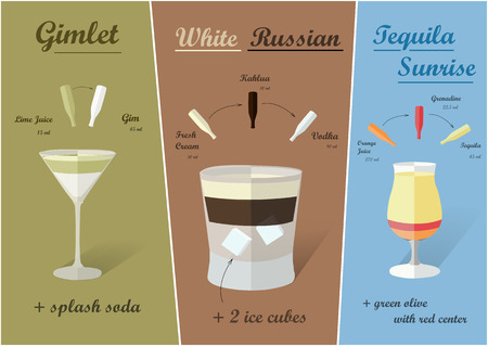 white russian: Cocktail recipes vector white russian gimlet tequila sunrise