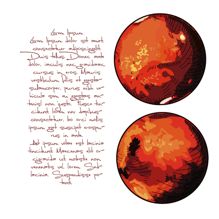 The planet Mars. Water on the surface of Mars. With text