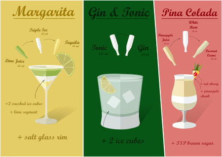 pina colada: Cocktail recipes vector margarita gin - tonik pina colada