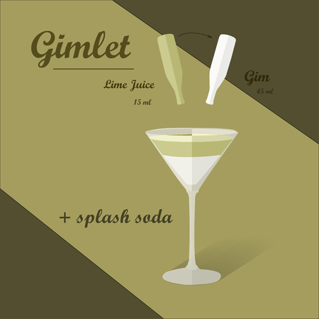 gimlet: Cocktail recipe vector  gimlet . Illustration of the menu bar Illustration