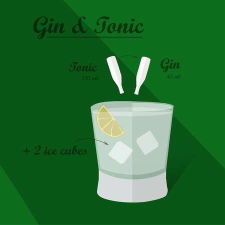 sugar cube: Cocktail recipe vector gin - tonik. Illustration of the menu bar