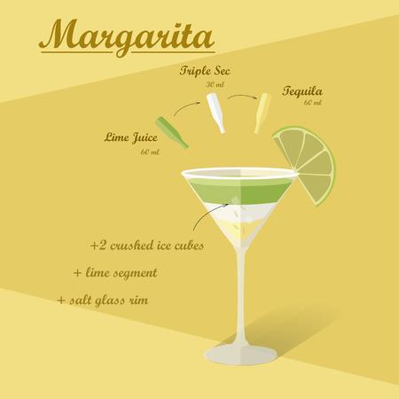 sec: Cocktail recipe vector margarita. Illustration of the menu bar