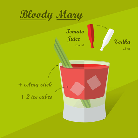 sugar cube: Cocktail recipe bloody mary. Illustration of the menu bar