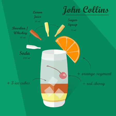 collins: Cocktail recipe John Collins. Illustration of the menu bar