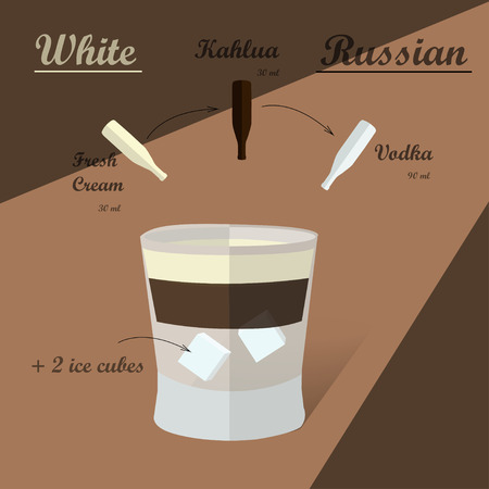 sugar cube: Cocktail recipe white russian. Illustration of the menu bar