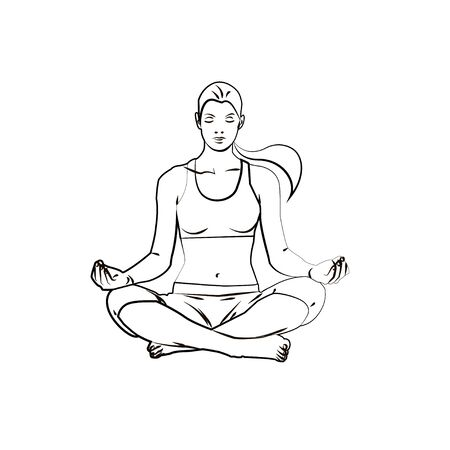 lotus position: Girl in the lotus position  , yoga pose