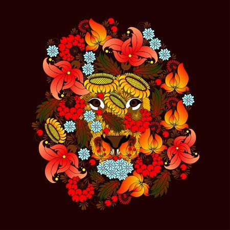 dessin au trait: Lion, qui se compose des fleurs sur un fond noir. peinture Petrikovskaya, peinture ukrainienne