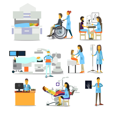 people characters in hospital Иллюстрация