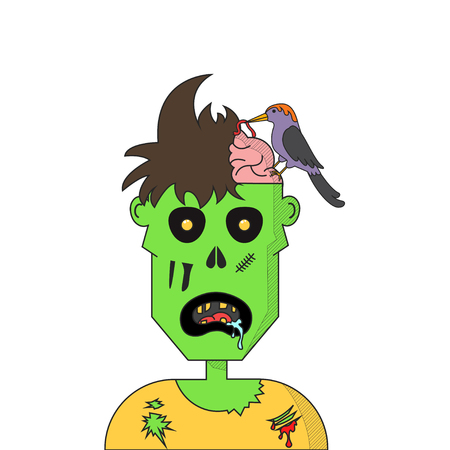 Cartoon zombie head isolated on plain background
