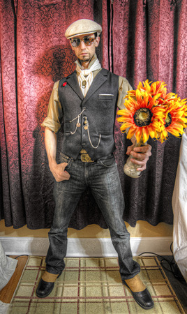 HDR Man with flowers in Vest Stock Photo