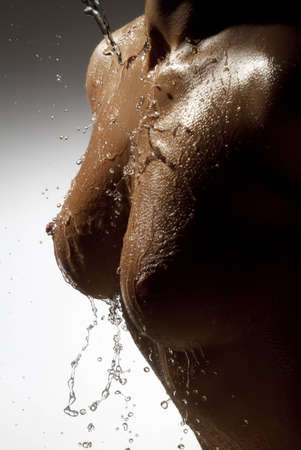 wet breast: Wet woman s breasts