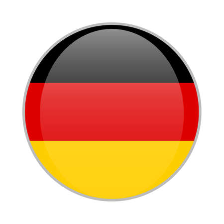 The national German flag round glossy icon. Germany badge Isolated on white background.