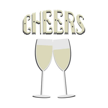 Two Champagne Alcohol Glasses Cheers Text Illustration