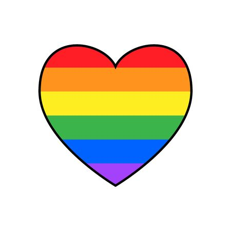 Colourful Heart LGBT Flag Icon Rainbow Spectrum Gay Love Pride Isolated Freedom Vector Illustration