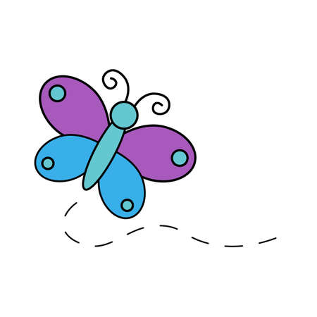 Butterfly Illustration Purple And Blue Wings With Green Body Cartoon Isolated Vector Icon Ilustração