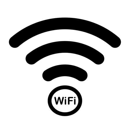 wireless internet network connection icon black isolated vector on white background Vectores