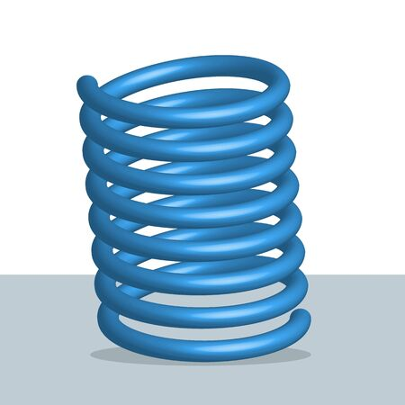 Blue spring icon three dimensional realistic metal flexible spiral automobile part vector illustration