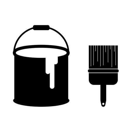 Black paint can and brush logo vector illustration liquid color bucket container with paintbrush icon