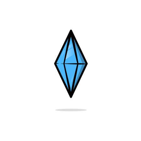 Blue Shiny Diamond Icon Gemstone Luxury vector Illustration isolated on white background