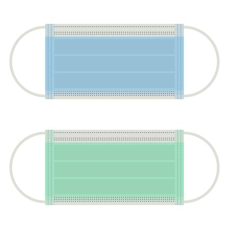 Surgical mask icon set blue and green medical face protective cover symbol illustration vector isolated on white background