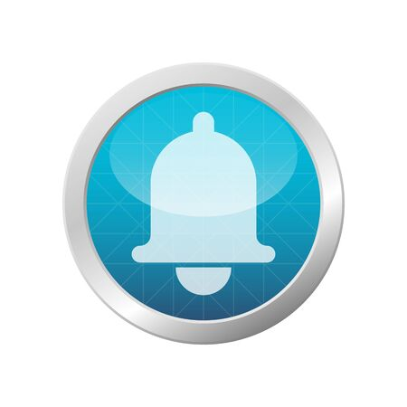Alarm clock bell icon illustration mobile phone reminder notification light blue circle button isolated