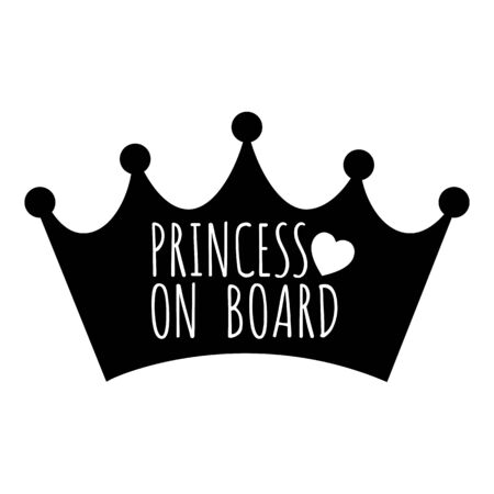 Princess On Board text on black crown icon car sticker design  illustration 向量圖像