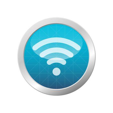 WIFI Icon isolated On Light Blue Shiny Circle Frame