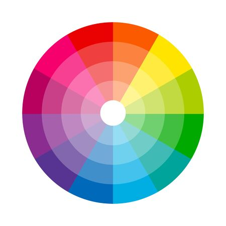 Color wheel isolated circle on white background vector illustration