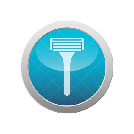 Shaving razor icon grooming tool in round light blue circle Isolated on white Vettoriali