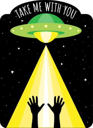 Take Me With You Alien UFO Vector Green Spaceship Yellow Beam Of Light Stock fotó - 152596069