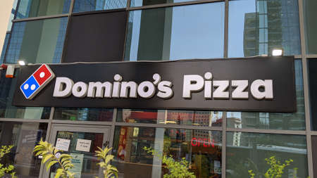 Israel, July 27th 2020. Domino's Pizza branch outside sign. Editorial