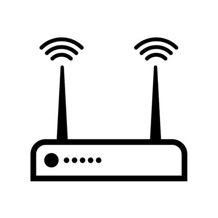 Router icon. Internet network modem symbol. Black isolated vector illustration.