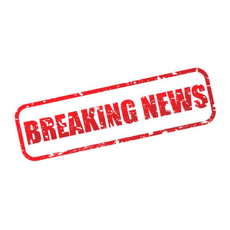 Breaking news grunge stamp icon. Red BREAKING NEWS text and frame sign isolated on white background. Vector illustration. Vetores