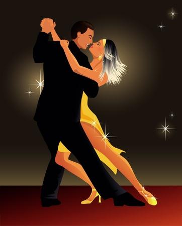 paar dansen op het feest Stock Illustratie