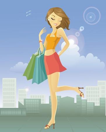Gelukkige jonge vrouw na het winkelen in de stad Stock Illustratie