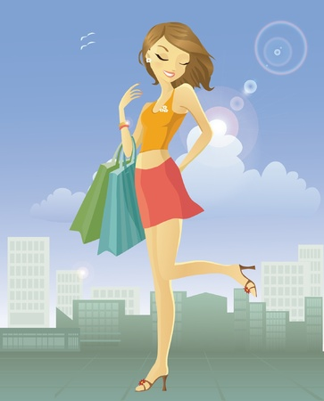 Happy young woman after shopping in the city