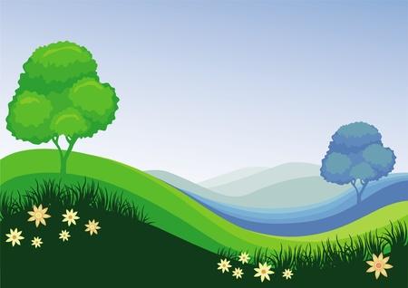 Natuur groen blauwe achtergrond van een veld Stock Illustratie