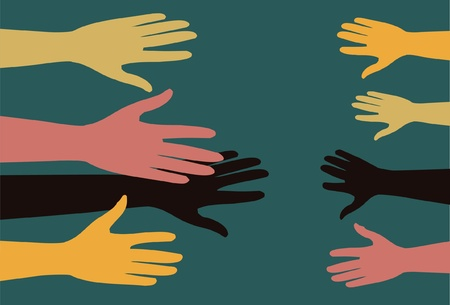 adult people stretched out their hands to help children
