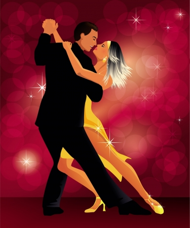 romantic couple dancing tango